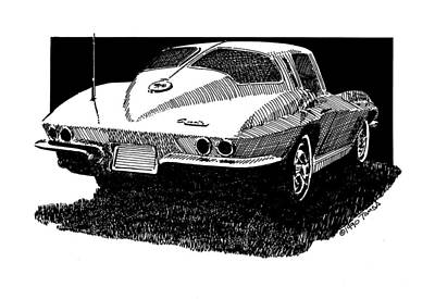Sport Car Drawing - Split Window Desire by Bill Tomsa
