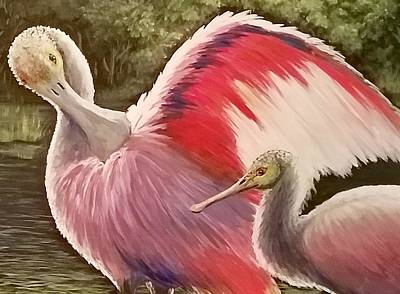Painting - Spoonbills by Dara Dodson