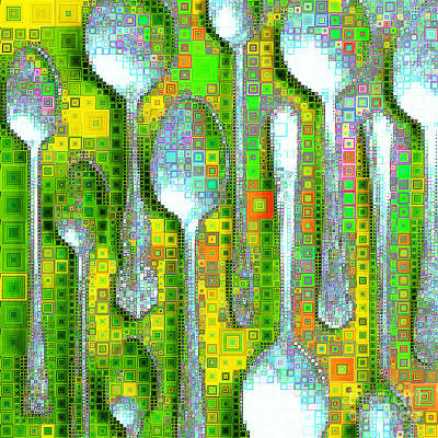 Photograph - Spoons In Abstract Squares 20190131sq by Wingsdomain Art and Photography