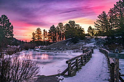Royalty-Free and Rights-Managed Images - Sprague Lake Pink Sunrise by Chelsea Stockton