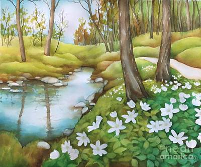 Painting - Spring At Creek by Inese Poga