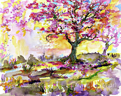 Painting - Spring Blossom Tree Warm Watercolor by Ginette Callaway