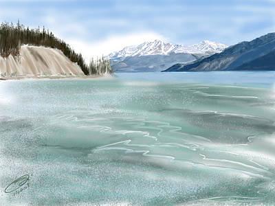 Digital Art - Spring Break The Alaska Highway At Muncho Lake by Joel Deutsch