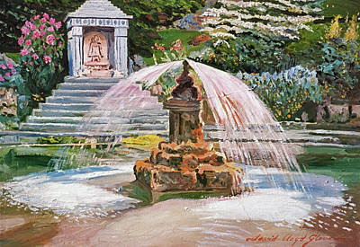 Impressionism Paintings - Spring Fountain And Pond by David Lloyd Glover