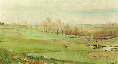 Painting - Spring Landscape With Light Green Fields by Laurits Andersen Ring