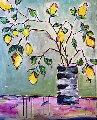 Abstract Painting - Spring Lemons by Roxy Rich