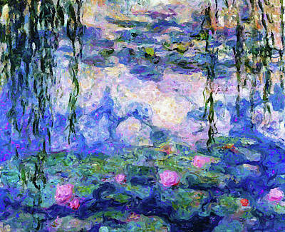 Mixed Media - Spring Water Lilies After Monet Abstract Realism by Georgiana Romanovna