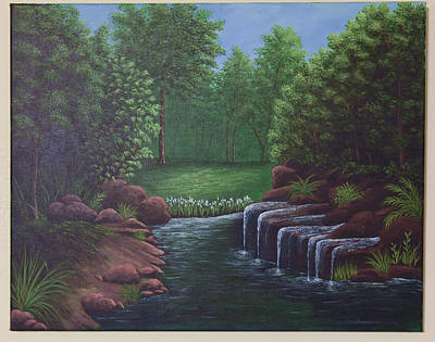 Painting - Spring Waterfall by Gloria Johnson