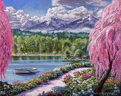 Painting - Springtime Lake Garden Walk by David Lloyd Glover