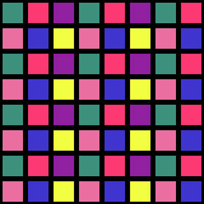 Digital Art - Square Grid - Spring - On Black by REVAD David Riley