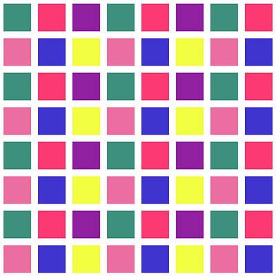 Digital Art - Square Grid - Spring - On White by REVAD David Riley