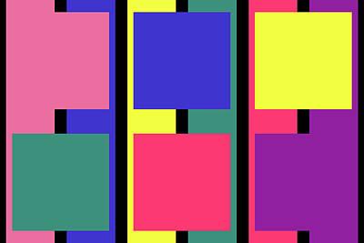 Digital Art - Square Stripe - Spring - On Black by REVAD David Riley