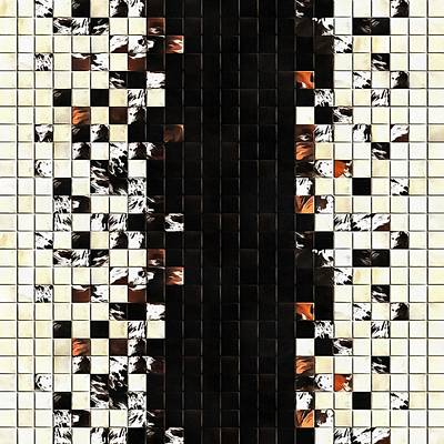 Painting - Square Tiles Ceramic Mosaic Pattern Sienna Accent by Taiche Acrylic Art