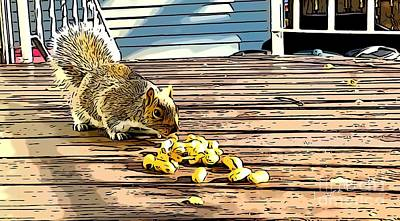Digital Art - Squirrel Eating Peanuts by Laura Forde