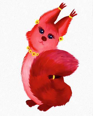 Painting - Squirrel Named Pinka by Dobrotsvet Art
