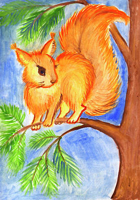 Painting - Squirrel On A Branch by Dobrotsvet Art
