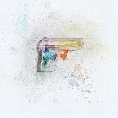 Vintage Stamps - Squirt Gun Painted by Scott Norris