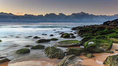 Photograph - Ssunrise Seascape And Rocks With Green Moss by Merrillie Redden