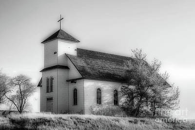 Photograph - St. Agnes Church - Bw by Tony Baca