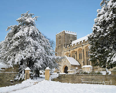 Photograph - St Andrew's Church Chedworth In The Snow by Tim Gainey
