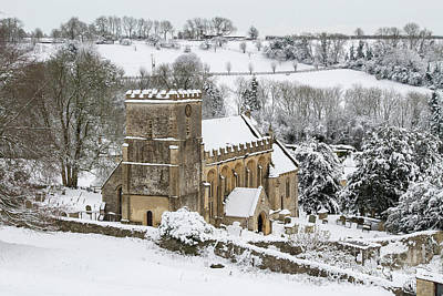 Photograph - St Andrew's Church Chedworth In Winter by Tim Gainey