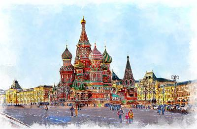 Moscow Wall Art - Painting - St. Basil's Cathedral by ArtMarketJapan