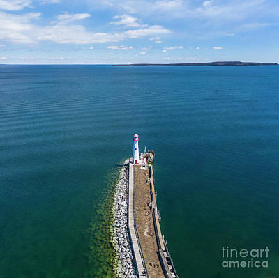 Royalty-Free and Rights-Managed Images - St Ignace Pier Aerial by Twenty Two North Photography