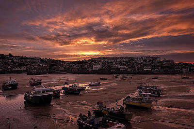 St Ives Cornwall - Harbour Sunset Art Print