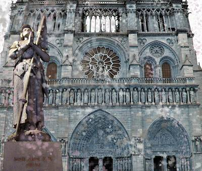 Mixed Media - St Joan Of Arc Watch Over Notre Dame by Joan Stratton