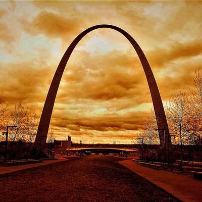 Photograph - St. Louis Arch Against Turbulent Skies by Michael Oceanofwisdom Bidwell