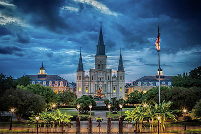 Photograph - St Louis Cathedral At Night by Susan Rissi Tregoning
