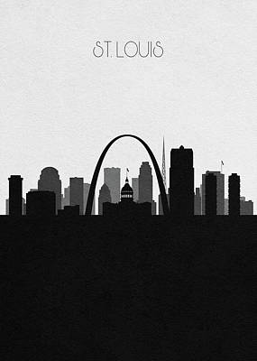 St. Louis Arch Wall Art - Digital Art - St. Louis Cityscape Art by Inspirowl Design