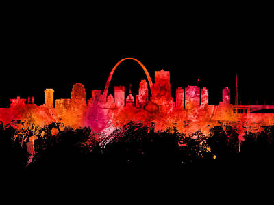 Digital Art - St Louis Missouri Skyline Custom Color Red by Michael Tompsett