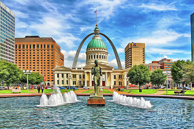 Photograph - St. Louis Old Courthouse Arch and Runner by Nidhin Nishanth