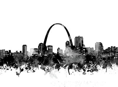 Abstract Skyline Royalty-Free and Rights-Managed Images - St Louis Skyline Bw by Bekim M