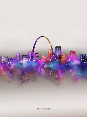 Digital Art - St Louis Skyline Galaxy by Bekim M