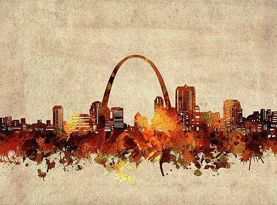 Abstract Skyline Royalty-Free and Rights-Managed Images - St Louis Skyline Sepia by Bekim M