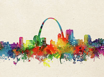 Abstract Skyline Royalty-Free and Rights-Managed Images - St Louis Skyline Watercolor by Bekim M