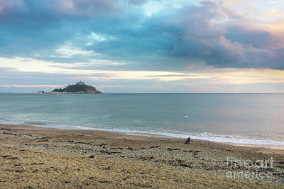 Photograph - St Michael's Mount A Dog And A Drone At Sunset by Terri Waters