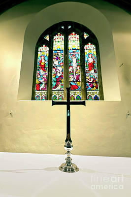 Photograph - St Mylor East Window, Altar And Cross by Terri Waters