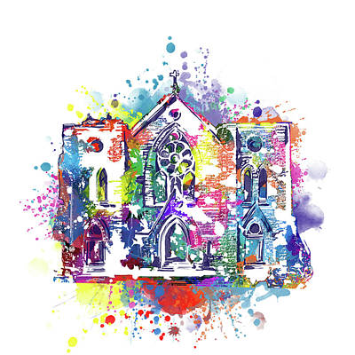 Digital Art - St Patrick Cathedral Fort Worth Watercolor by Bekim Art