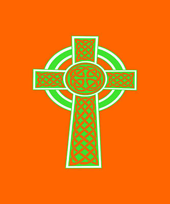 Digital Art - St Patrick's Day Celtic Cross Green And White by Taiche Acrylic Art