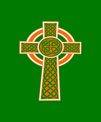 Digital Art - St Patrick's Day Celtic Cross Orange And White by Taiche Acrylic Art