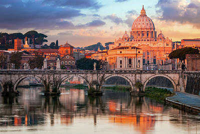 St Peters Basilica, St Angelo Bridge Art Print by Joe Daniel Price
