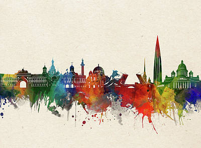 Abstract Skyline Royalty-Free and Rights-Managed Images - St Petersburg Skyline Watercolor by Bekim M