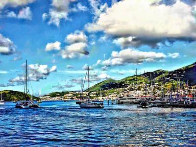 Photograph - St. Thomas Vi - Boats In Harbor by Susan Savad