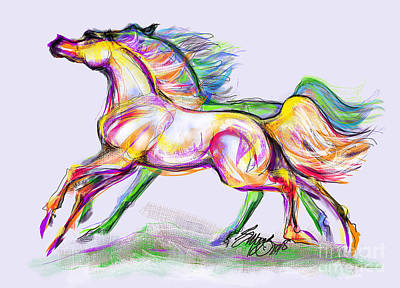 Digital Art - Crayon Bright Horses by Stacey Mayer