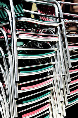 Photograph - Stack Of Chrome Chairs by Marilyn Hunt