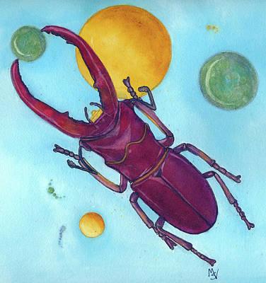 Painting - Stag Beetle In Space by Marie Stone Van Vuuren
