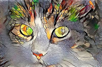 Recently Sold - Animals Digital Art - Stained Glass Cat Portrait Golden Orange by Don Northup